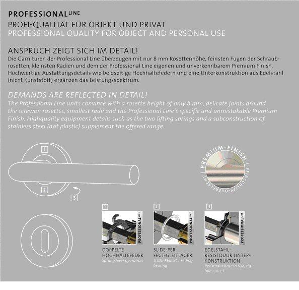 Detailzeichnung einer professionellen Drückergarnitur für Zimmertüren - Quelle: Griffwerk GmbH